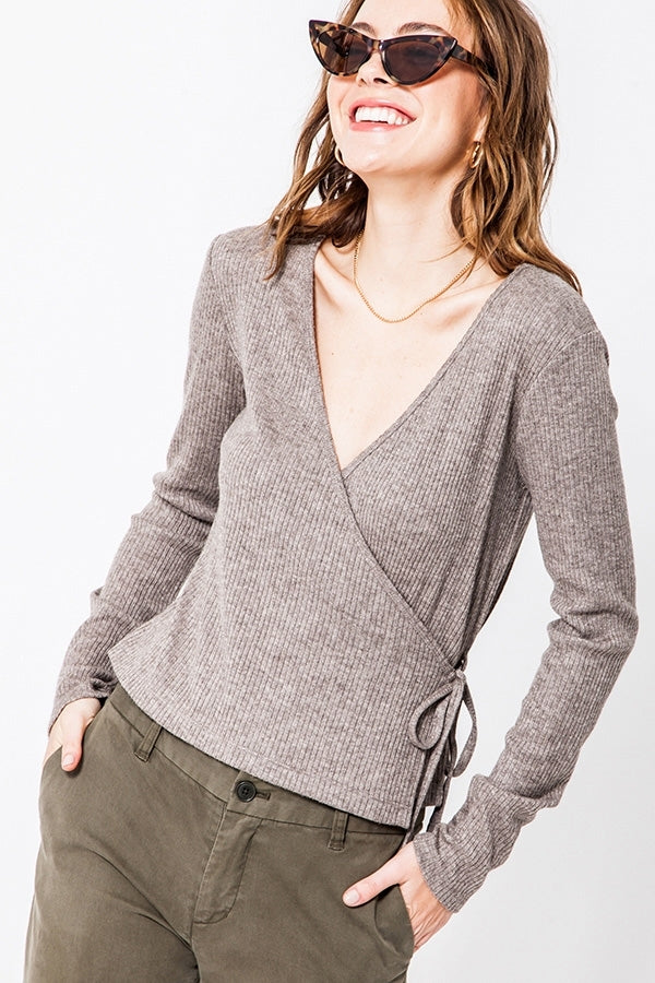 Wrap Front Knit Top