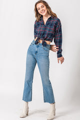 Tie Front Cropped Flannel