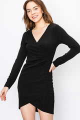 Bodycon Faux Wrap Dress