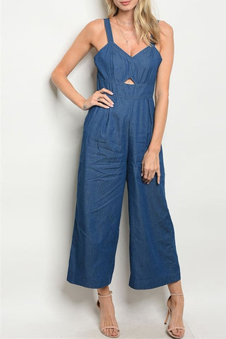 Cut Out Denim Jumpsuit