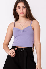 Button Front Cami Crop Top