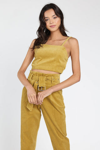 Honey Punch Corduroy Crop Top