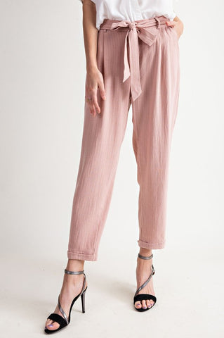Mauve Striped Linen Pants