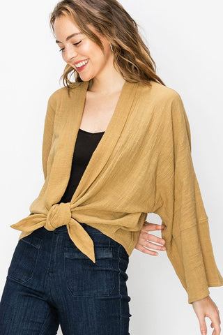 Front Tie Bell Sleeve Blouse