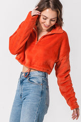 Half Zip Crop Fleece Red