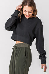 Crop Crew Neck Sweater Black