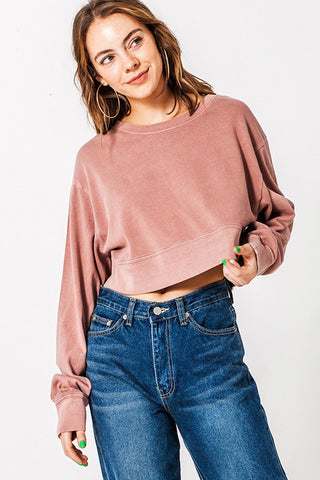 Crop Crew Neck Sweater Rose Color