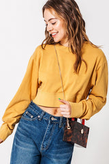 Crop Crew Neck Sweater Honey