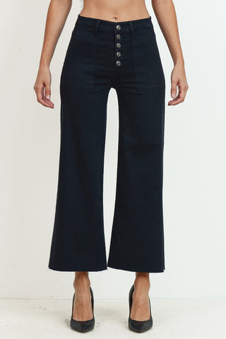 Black High Rise Wide Leg Jean