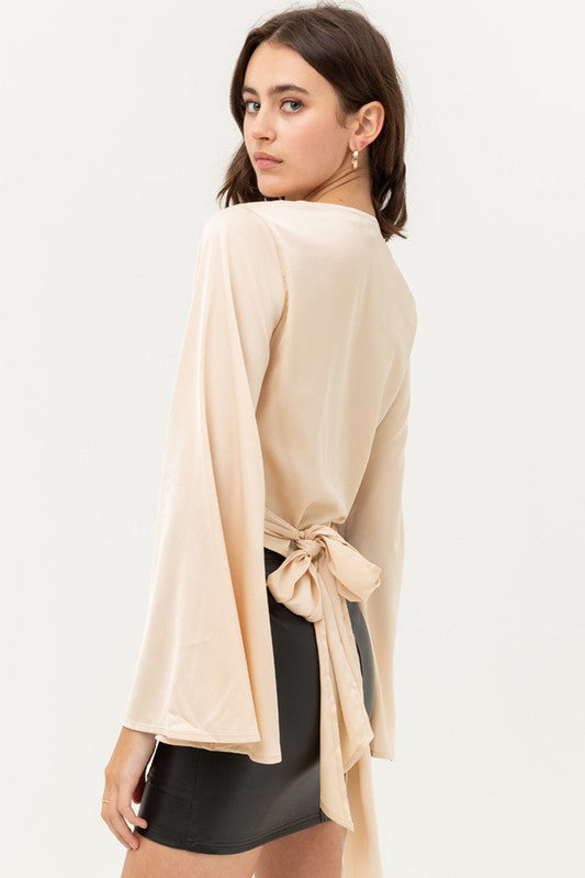 Bell Sleeve Wrap Blouse