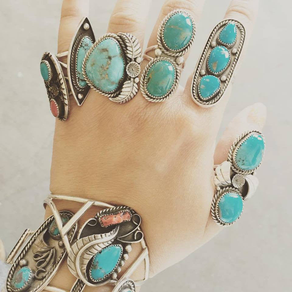 Turquoise & Coral Cuff Bracelet