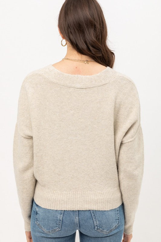 Cropped Cardigan Oatmeal