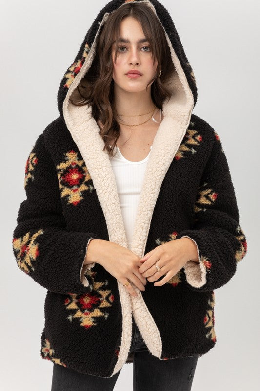 Reversible Sherpa Hooded Jacket
