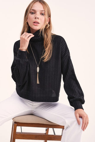 Boxed Mock Neck Sweater