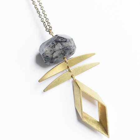 Rutilated Quartz Crystal Rhombus Necklace