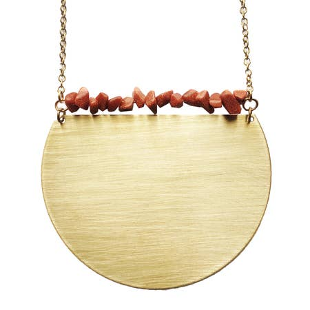 Gold Sandstone Large Shield Necklace