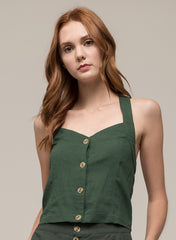 Moon River Linen Halter Blouse