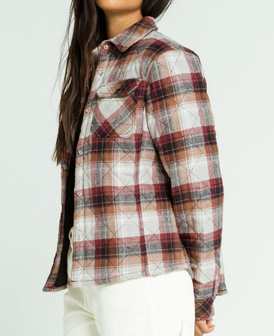 Dickies Girl Plaid Quilted Shirt Jacket