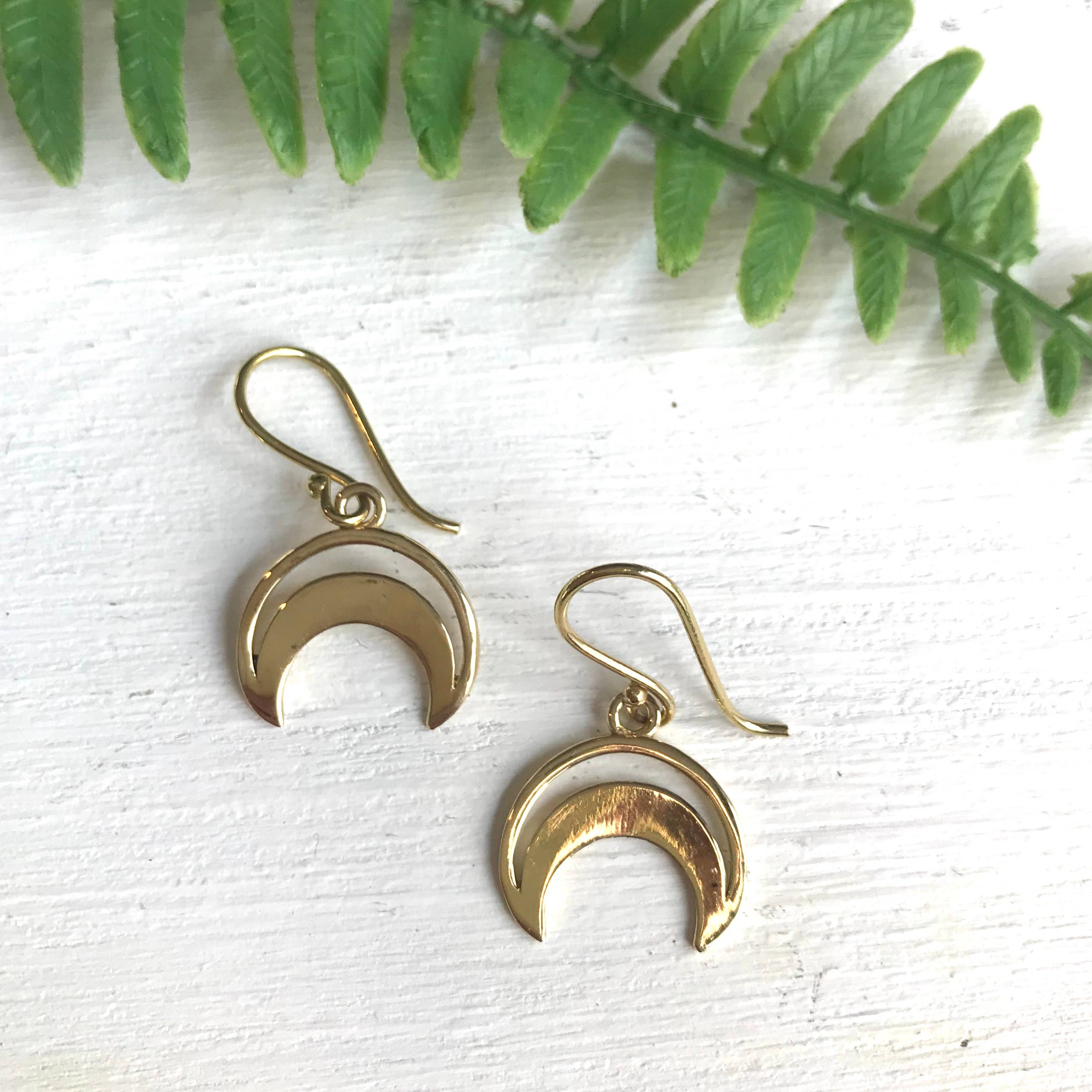 Brass Crescent Moon Earrings