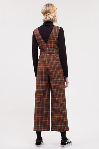 J.O.A. Belted Plaid Jumpsuit