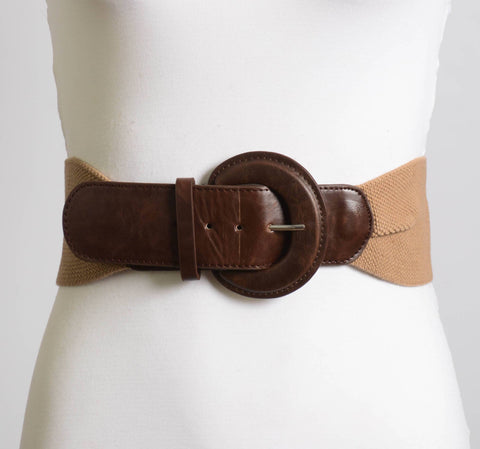 Faux Leather Wide Buckle Belt