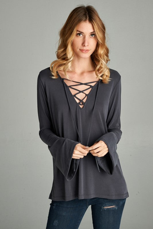 Lace Up Modal Shirt