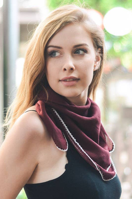 Burgundy Scalloped Stitch Bandana Scarf