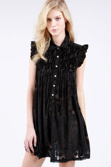Black Rose Burnout Velvet Dress