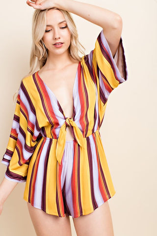 Wild Honey Striped Romper