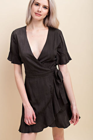 Honey Belle Mineral Washed Wrap Dress