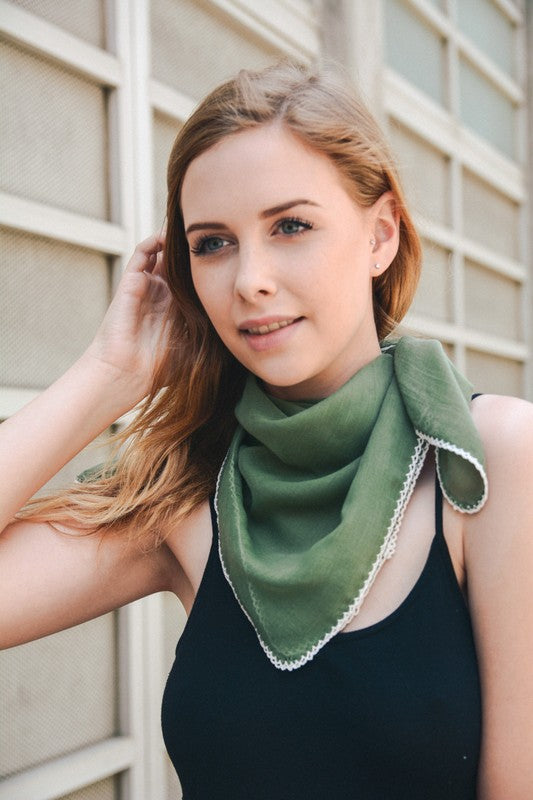 Sage Scalloped Stitch Bandana Scarf