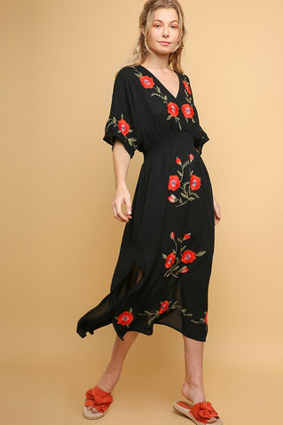 Fire Poppy Embroidered Dress
