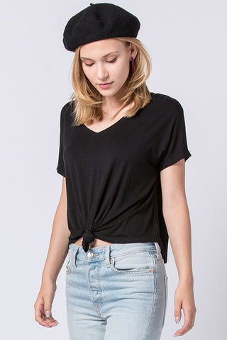 Knotted V-Neck Tee
