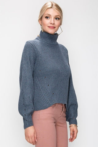 Balloon Sleeve Turtleneck Sweater