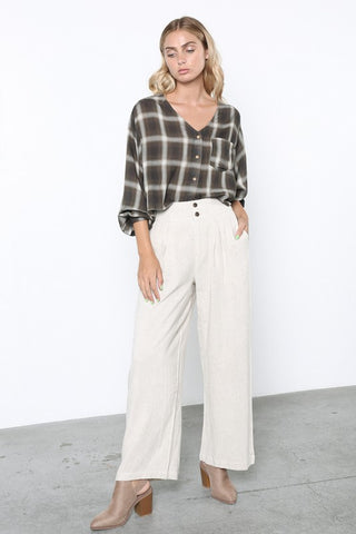 Grade & Gather Plaid Crop Blouse