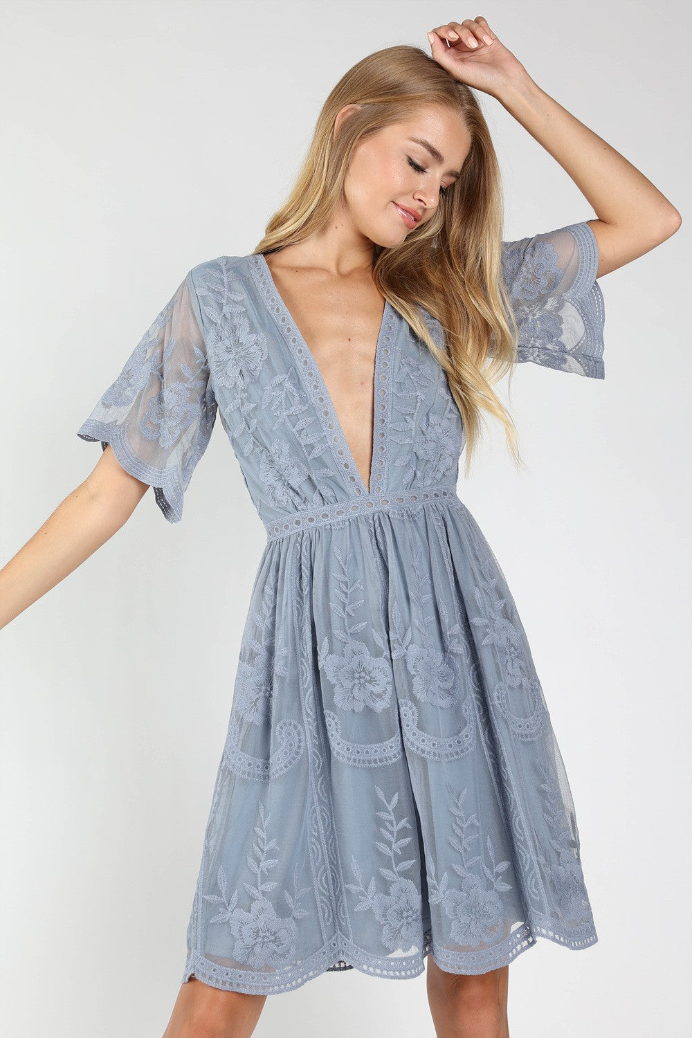 Wild Honey Lace V-Neck Dress