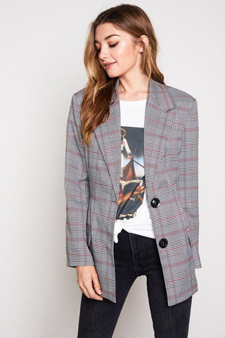 Blue Blush Glen Plaid Blazer