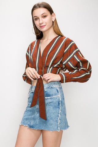 Striped Crop Blouse