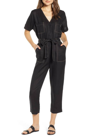 Moon River Contrast Stitch Linen Jumpsuit