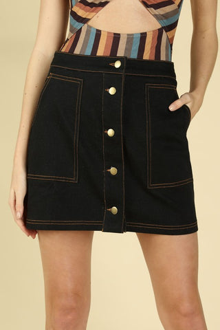Wild Honey Black Denim Skirt