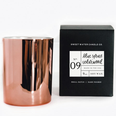 Rose Gold Blue Spruce + Cedarwood Candle