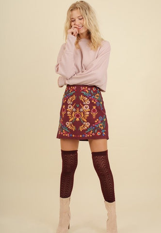 Carina Embroidered Mini Skirt