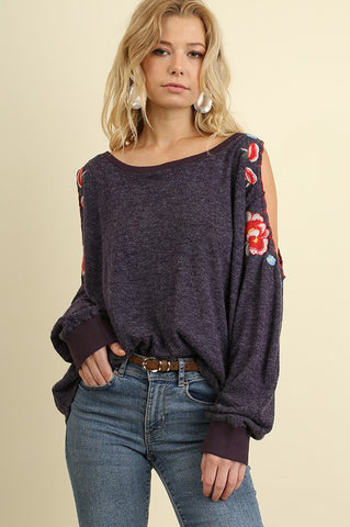 Bordeaux Open Shoulder Sweater