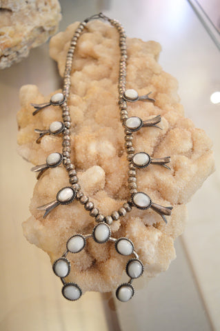 Vintage Mother of Pearl Squash Blossom Necklace