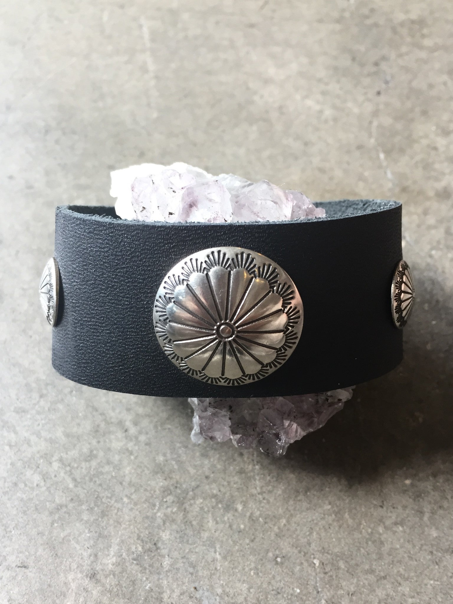 Leather Concho Cuff
