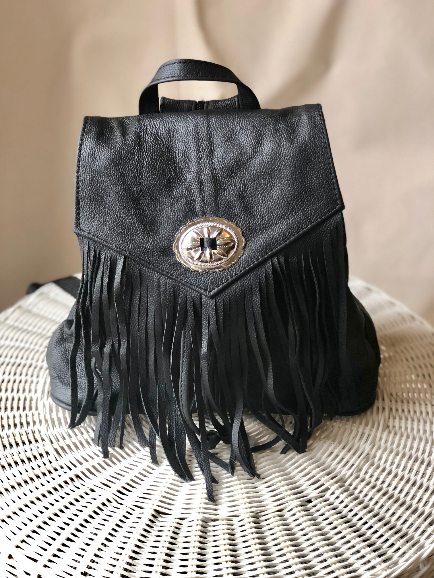 Concho Fringe Leather Backpack