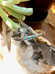 Feather & Turquoise Stamped Bracelet