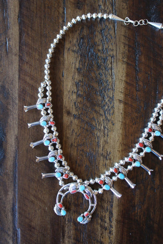 Coral & Turquoise Squash Blossom Necklace