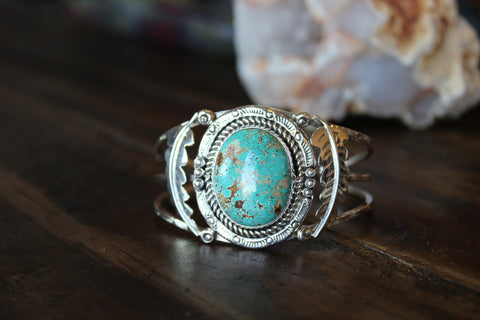 Large Turquoise & Feather Stamped Cuff