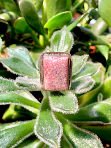 Pink Cushion Agate Ring